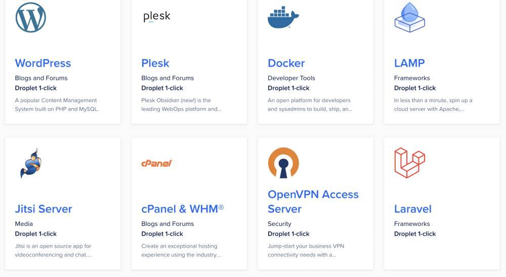 Applications marketplace at Digital Ocean