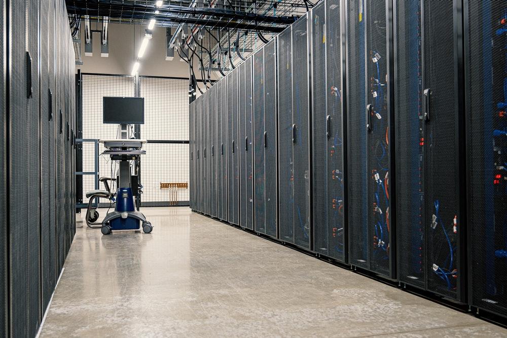 Server room at website hosting provider